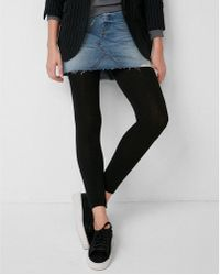 Express - Opaque Fleece Ankle Tights - Lyst