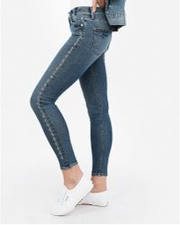 Express - Mid Rise Rhinestone Ankle Leggings Blue - Lyst