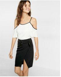 Express - High Waisted Belted Pencil Skirt - Lyst