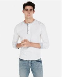 Express - Marled Knit Henley - Lyst