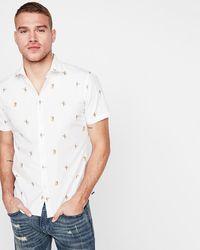 Express Slim Surfer Girl Cotton Short Sleeve Shirt Neutral - White