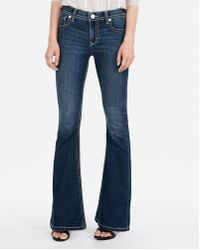 Express - Mid Rise Thick Stitch Stretch Bell Flare Jeans, Women's Size:00 Short - Lyst