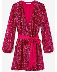 Express - Olivia Culpo Surplice Sequin Dress Pink - Lyst