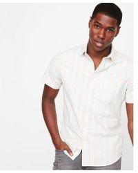 Express - Slim Striped One Pocket Short Sleeve Shirt - Lyst