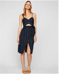 Express - Striped Cut-out Wrap Front Cotton Midi Dress - Lyst