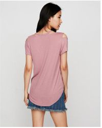 Express - One Eleven Slash Neck Cold Shoulder Tee - Lyst