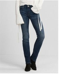 Express - Mid Rise Medium Wash Stretch Skinny Jeans, Women's Size:00 Short - Lyst