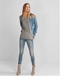 Express | Heathered Plush Jersey Ribbed Dolman Tunic | Lyst