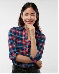 Express - Color Flannel Boyfriend Shirt - Lyst