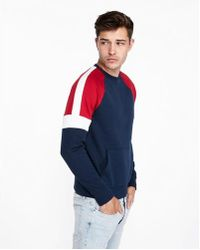 Express - Color Block Fleece Crew Neck Sweatshirt - Lyst