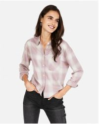 Express - Boxy Flannel Shirt - Lyst