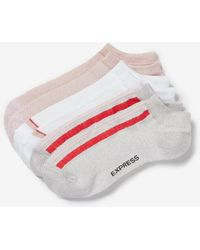 Express - 3 Pack Solid And Striped Ankle Socks Red - Lyst
