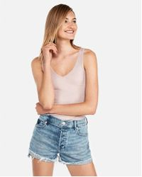 6559ecbb5c Lyst - Express One Eleven Cut-out V-neck Tank in Pink