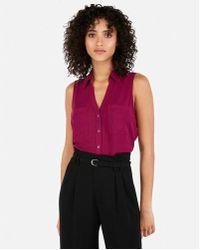 8e1e186f8c3c3 Lyst - Express Slim Sleeveless Satin Portofino Shirt in Pink