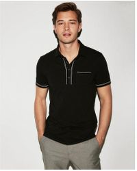 Express - Piped Performance Polo - Lyst