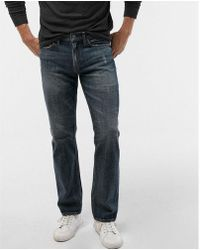 Express - Slim Straight Medium Wash Distressed Soft Cotton Jeans, Men's Size:w36 L32 - Lyst