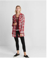 Express - And Black Plaid Button Front Tunic - Lyst
