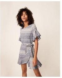 Express - Striped Short Flutter Sleeve Wrap Dress - Lyst