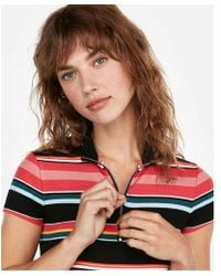Express - One Eleven Stripe Mock Neck Modern Rib Top - Lyst
