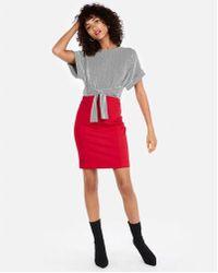 Express - High Waisted Pintuck Pencil Skirt - Lyst
