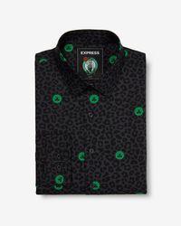 Express - Slim Boston Celtics Nba Printed Stretch Dress Shirt Black - Lyst