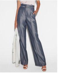 Express - High Waisted Belted Tie Waist Wide Leg Dress Pant - Lyst