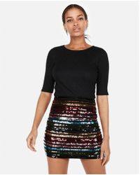 Express - High Waisted Double Stripe Sequin Mini Skirt - Lyst