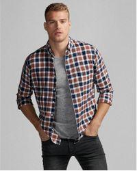 Express - Soft Wash Plaid Cotton Shirt - Lyst
