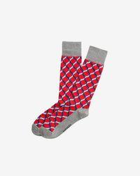 Express - Solid Heel Geometric Dress Socks - Lyst