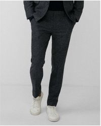 Express - Slim Dark Charcoal Dotted Wool-blend Suit Pant - Lyst