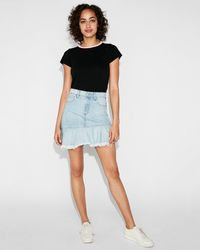 a36be9376 Express Karlie Kloss High Waisted A-line Denim Mini Skirt in Blue - Lyst