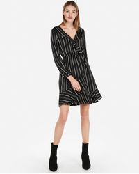 68da398d063 Express - Striped Elastic Waist Ruffle Wrap Dress Black And White - Lyst