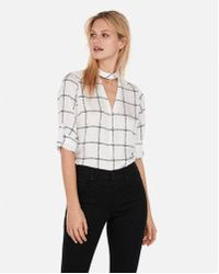 Express - Satin Windowpane Choker Button Front Chelsea Popover - Lyst