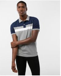 Express - Chest Stripe Pique Polo Shirt - Lyst