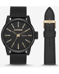 Express Empire Black Mesh Leather Watch Gift Set Black