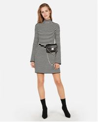 714e2be89e8 Express - Striped Ribbed Mock Neck Dress - Lyst
