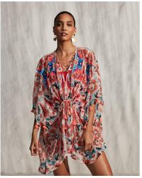 Express - Embroidered Floral Front Cover-up - Lyst