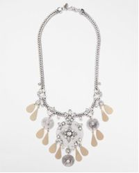 Express - Encrusted Filigree Statement Necklace - Lyst