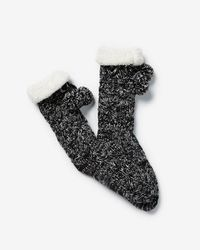 Express - Cable Knit Pom Slipper Socks - Lyst