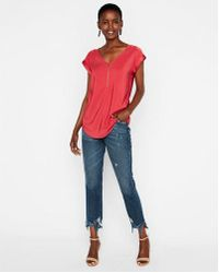 Express - Silky Zip Front Gramercy Tee - Lyst