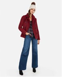 Express - Double Breasted Utility Peacoat - Lyst