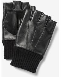Express Fingerless Leather Gloves Black