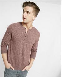 Express - Cotton Ribbed Henley Sweater - Lyst