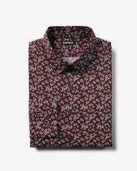 Express - Slim Fit Cotton Floral Print Dress Shirt - Lyst