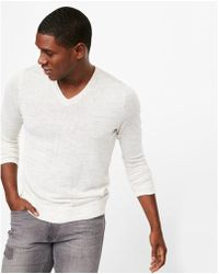 Express - Linen Blend V-neck Jumper - Lyst