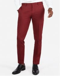 Express Extra Slim Burgundy Cotton Sateen Stretch Suit Pants Red