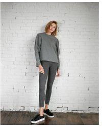 Express - Heathered Puff Sleeve Hi-lo Sweatshirt - Lyst