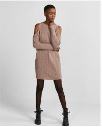 Express - Cold Shoulder Cable Knit Sweater Dress - Lyst