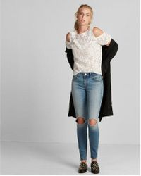 Express - Lace Cold Shoulder Puff Sleeve Tee - Lyst