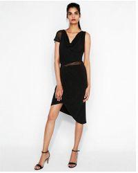 Express - Mesh Drape Asymmetrical Midi Dress - Lyst